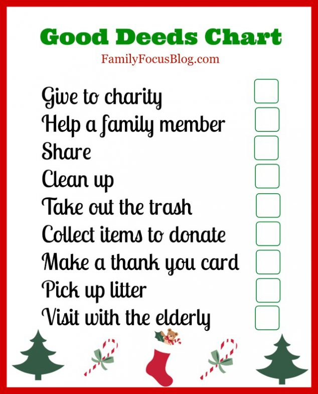 A Good Deeds Chart For Kids To Help Celebrate National