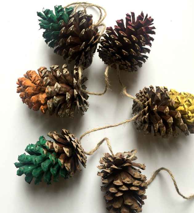 painted pine-cone-garland