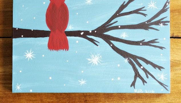 How to Paint a Cardinal Winter Scene in 10 Steps