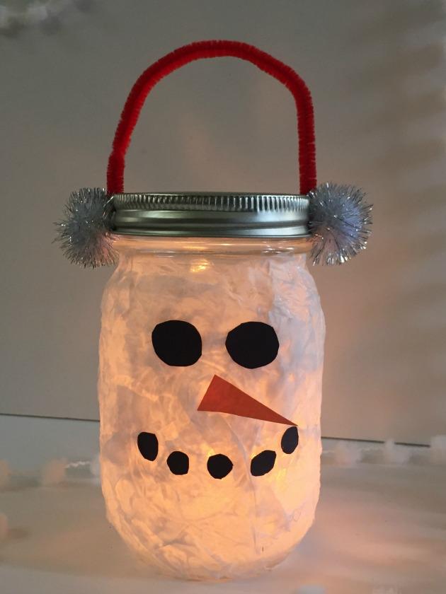 DIY Lantern Snowman Craft for Kids