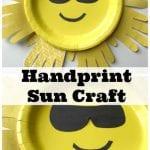 Sun Handprint Paper Plate Craft For Kids