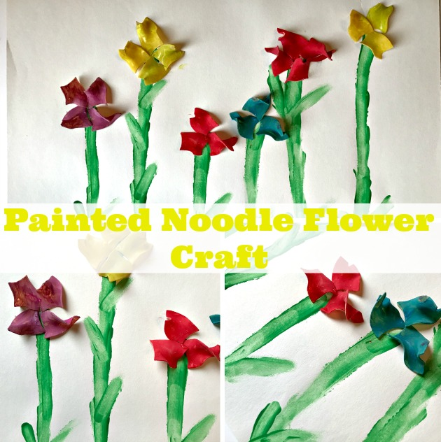 Painted Pasta Flower Art Craft for Kids