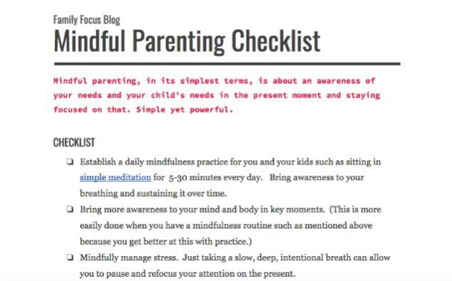 mindful parenting checklist