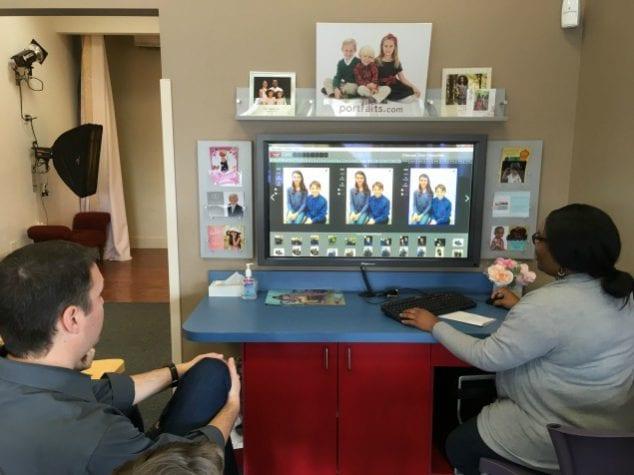 selecting family photos
