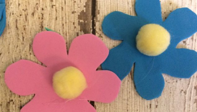 Make Spring Flower Garland With Craft Foam and Pom Poms
