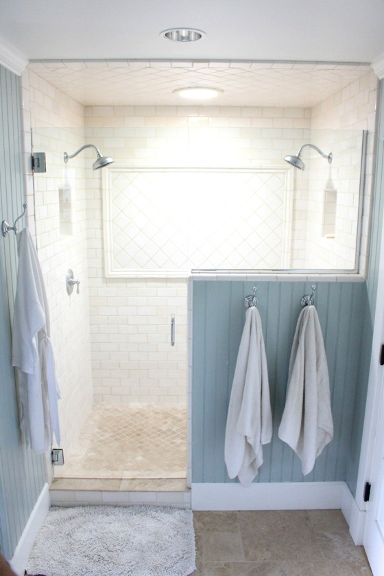 shower from the pleated poppy features glass doors dual shower heads