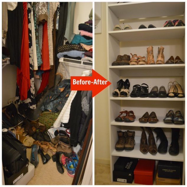 wood closet shoe rack