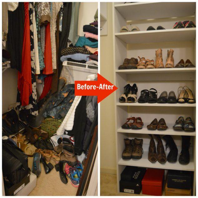 wood closet shoe rack