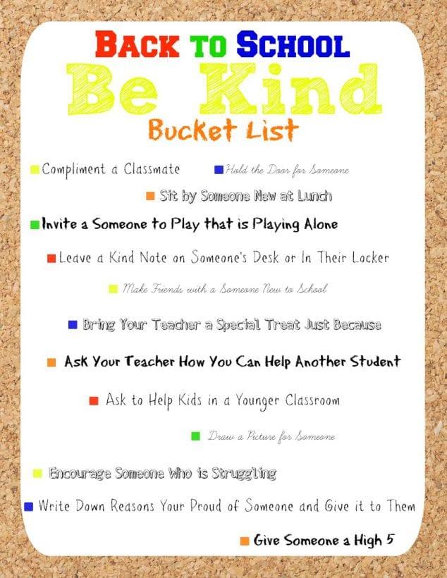 Back to School Be Kind Bucket List