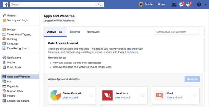 Facebook Settings For Apps