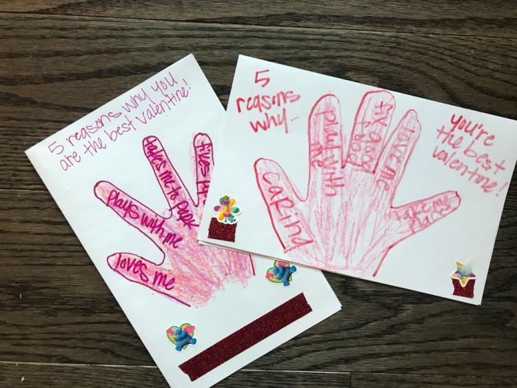 homemade handprint valentine cards
