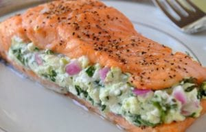 spinach stuffed salmon fillets