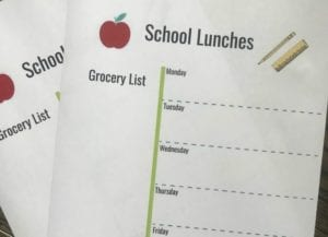 school lunch list