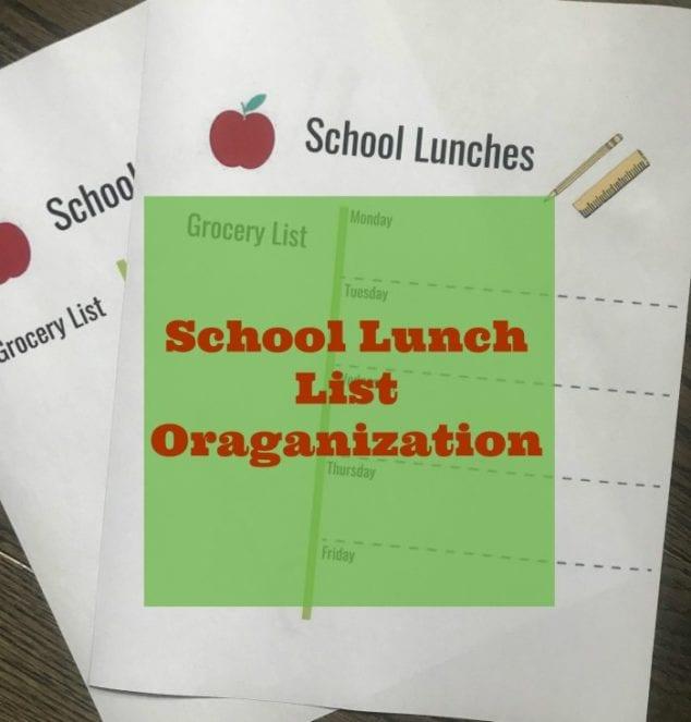 school lunch list organization